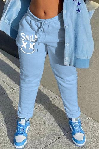 front_Mid Waist Graphic Blue Pants