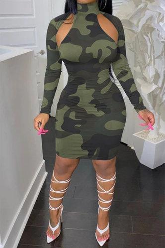 front_Shopping Long Sleeve High Neck Regular Sleeve Camo All over print Dresses