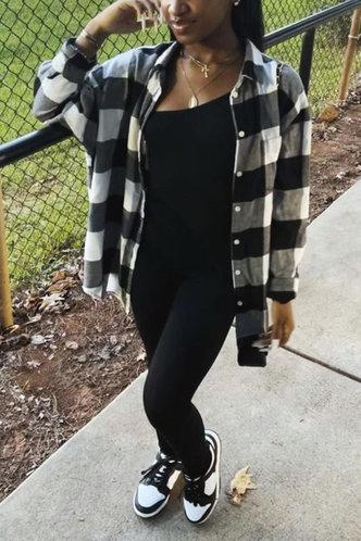 back_Shirt Collar Plaid Long Sleeve Regular Sleeve Black And White Blouses