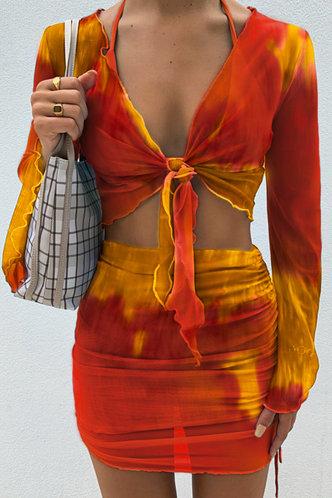 back_Rosaline Elvira Orange Tie Dye Set