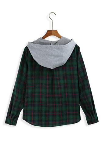 back_Hello The World Multicolor Plaid Hoodies