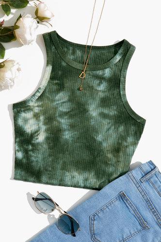 front_Alethea Edwina Green Tie Dye Crop Top