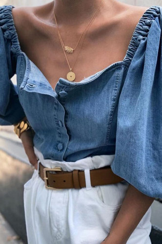 front_Marcella Elsie Blue Denim Blouse