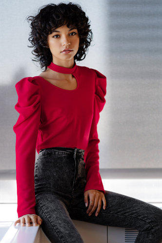 back_Daydreamer Red Cutout Long Sleeve Top