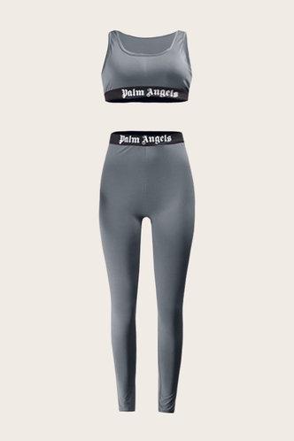back_Mid Waist Skinny Dark Grey Activewear Sets