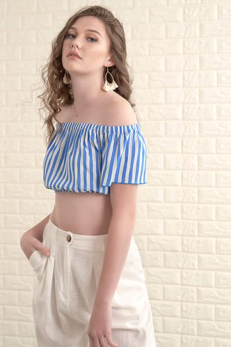 front_Dream Girl White And Blue Striped Short Sleeve Top