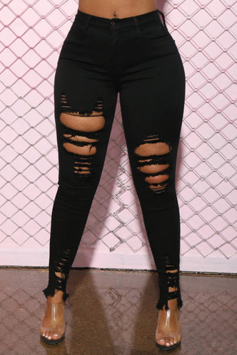 front_Merry Edwina Black Ripped Knee Jeans