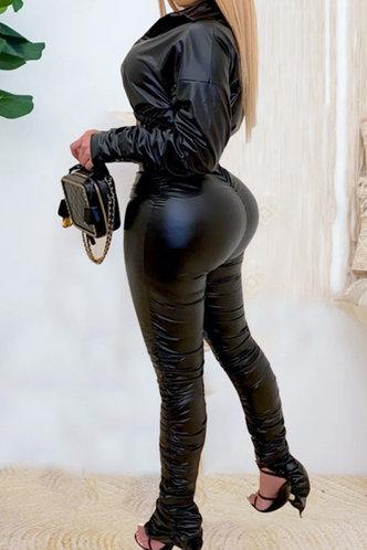back_Shirred Pullover Black Pants Sets
