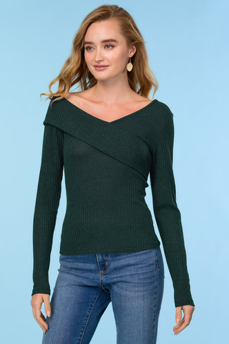 front_Wrapped With Love Dark Green Rib-knit Tee