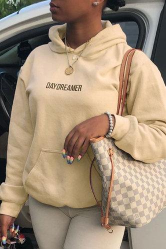 front_Casual Hooded Collar Letter Pocket Khaki Sweatshirts & Hoodies