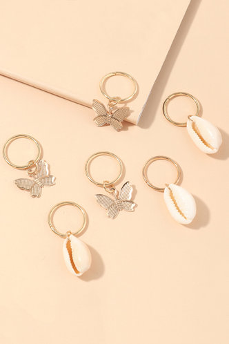 front_Iona Elsie Gold Hair Ring 6pcs