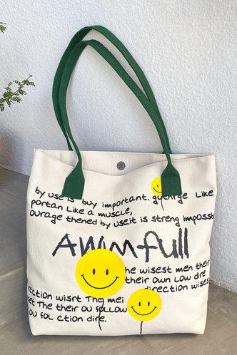 front_Cicely Elva Letter And Emoji Print Tote Bag