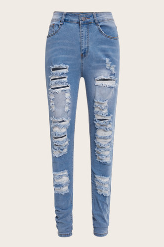 back_Mid Waist   Long Conventional Hollow Out Hole Wash Blue Jeans