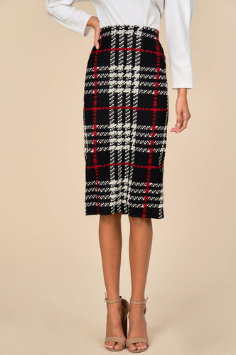 front_Strictly Business Black And White Plaid Skirt