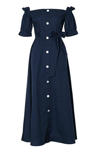 front_Vivien Navy Blue Belted Dress