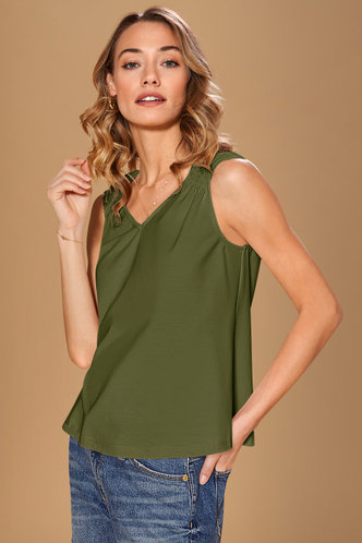 front_Amity Dark Green Tank Top