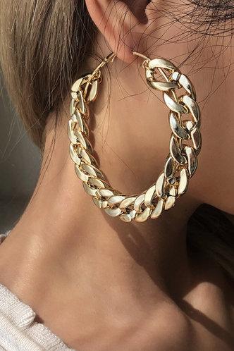 front_Helen Eleanore Gold Chain Hoop Earrings 1pair