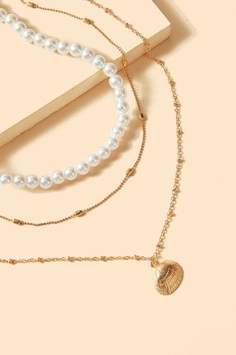 back_Antigone Eleanore White Faux Pearls Design Layered Necklace