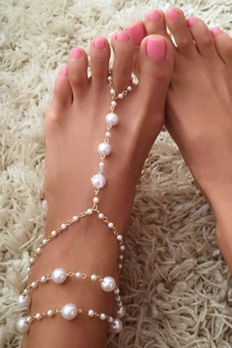 front_Katy Ella Gold Faux Pearl Charm Toe Ring Anklet