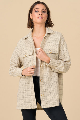 front_Pearly {color} Button Front Coat
