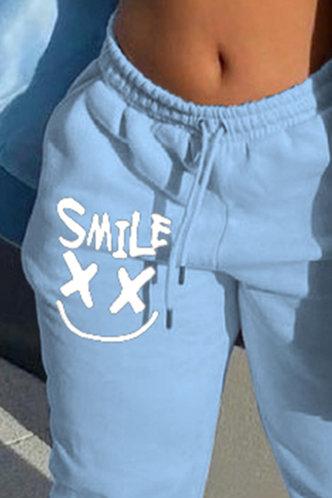 back_Mid Waist Graphic Blue Pants