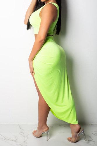 back_Beatty Enid Lime Green Plus Size Skirt Set