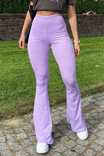 front_Radcliff Purple Ribbed Flare Pants