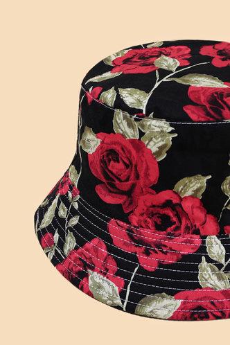 back_Flora Elma Black And Red Floral Print Bucket Hat