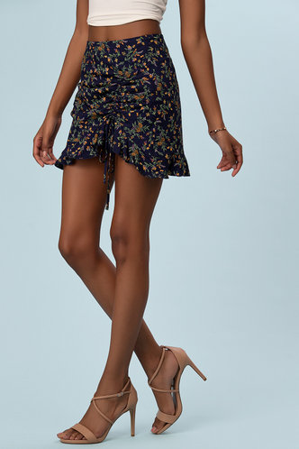 back_Keep You Forever Dark Navy Floral Print Skirt