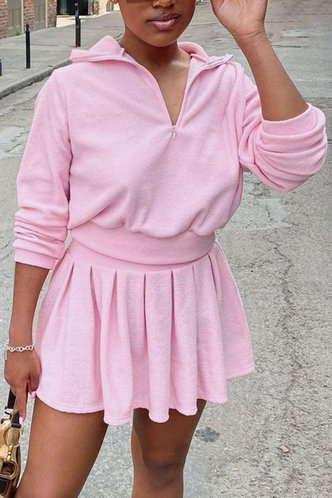 back_Plain Zipper  and Pink Skirt Sets