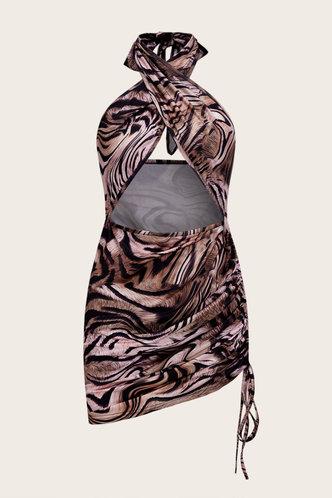 back_Debby Lumstel Tiger Print Crisscross Halter Cutout Front Bodycon Dress
