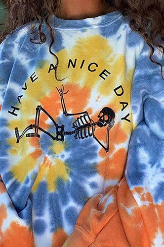 back_Vacation Street Crew Neck All over print Tie Dye Sweatshirts & Hoodies
