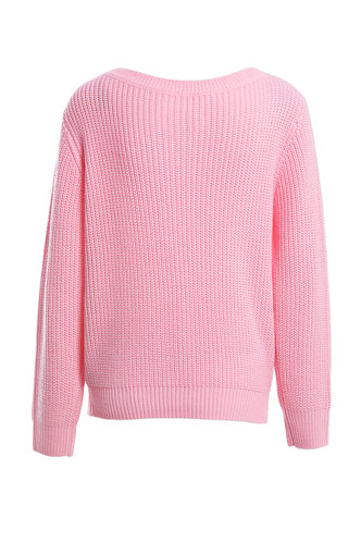 back_Happiness Forever Pink Ribbed Knit Sweater
