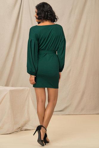 back_Business Long Sleeve Dark Green Plain Dresses
