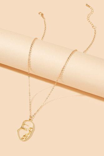 back_Annie Elsie Gold Face Pendant Necklace