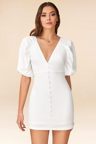 back_Bubbly White Mini Dress