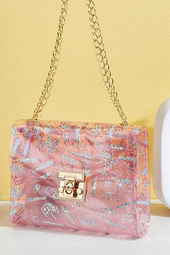 back_All Over Print Pink Shoulder Bags