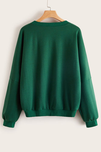 back_Rose Dark Green Sweatshirt