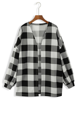 front_Afra Eartha Black And White Plaid Open Front Coat