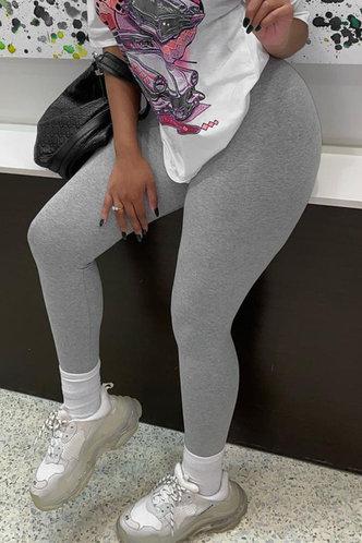 back_Mid Waist Plain Pencil Pants Light Grey Pants