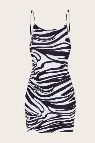 back_Elvira Kudril Zebra Striped Cami Bodycon Dress