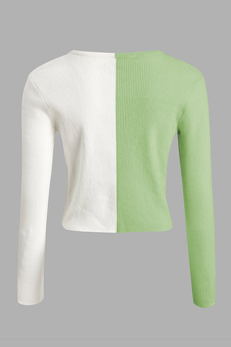 back_All That Glitters Green And White Colorblock Ribbed