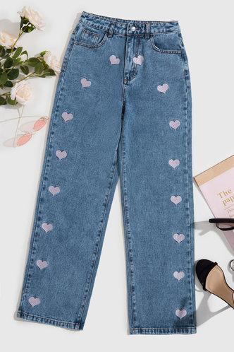 back_Denise Ostum Blue Heart Print Jeans