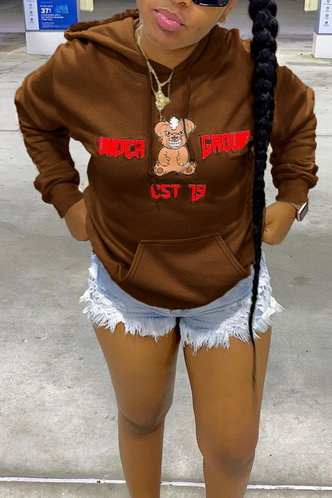 back_Casual Street Hooded Collar Letter Print Cartoon Pocket Coffee Sweatshirts & Hoodies