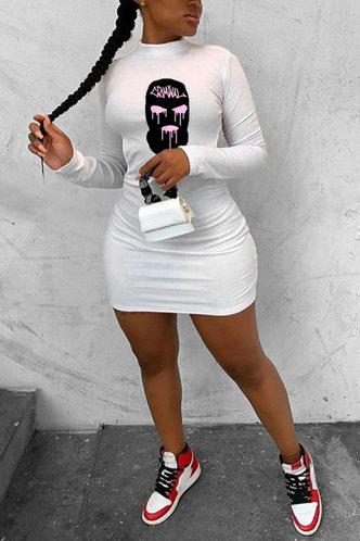 front_Graphic  White Mini Dresses