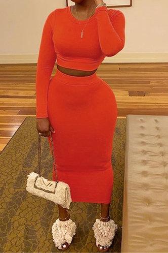 front_Long Sleeve Elastic Band Pullover Orange Skirt Sets
