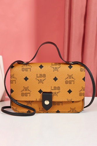 front_All Over Print Light Brown Satchels