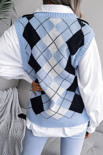 back_V-Neck Plaid Plaid Sweaters