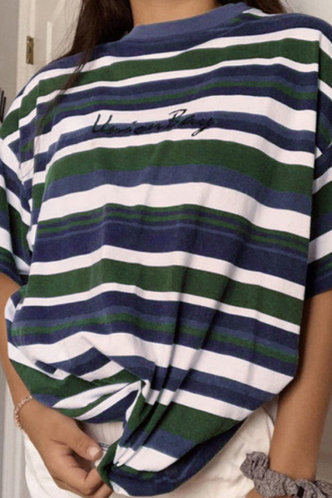 front_Phyllis Eden Black And White Striped Tee