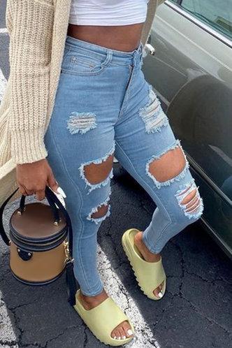 back_Mid Waist Pencil Wash Blue Women Jeans
